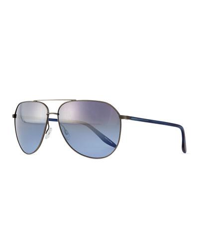 Hawkeye Metal Aviator Sunglasses, Gray