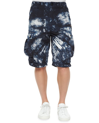 Tie-Dye Print Cargo Shorts, Black/White