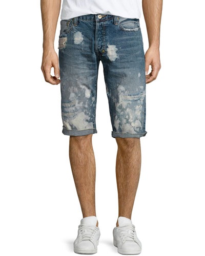 Keith Bleached Denim Shorts, Light Blue