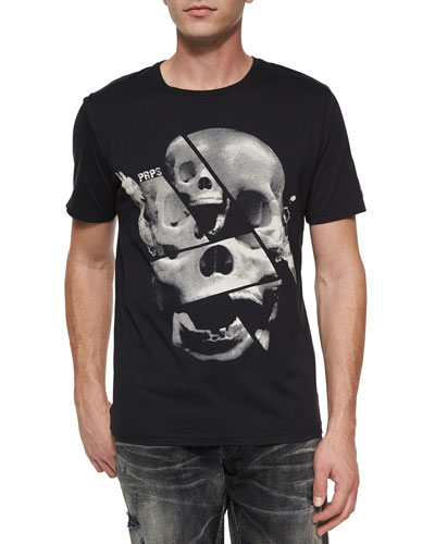 Skull-Print Graphic Tee, Black