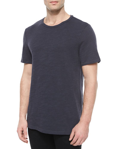 Basic Crewneck Knit Tee, Navy
