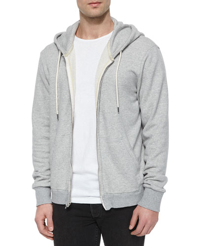 Full-Zip Hooded Sweatshirt, Light Gray
