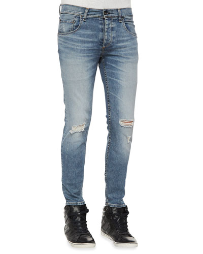 Mariner Distressed Slim-Leg Denim Jeans, Light Indigo