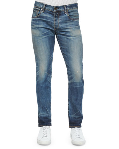 Slim-Fit Distressed Denim Jeans, Indigo