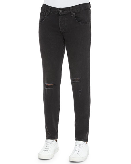Rag & Bone Five-Pocket Distressed Skinny Jeans, Black