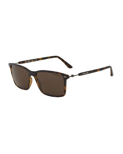 Full-Rim Square Sunglasses with Titanium, Matte Havana