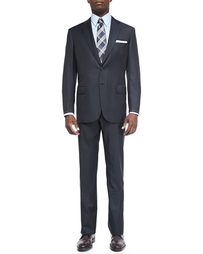 Check Two-Piece Suit, Navy/Brown