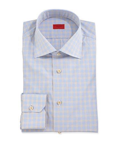 Micro-Check Dress Shirt, Blue/Tan