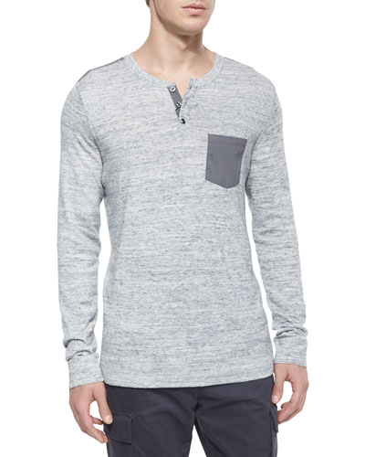 Long-Sleeve Henley Tee with Contrast Pocket, Gray