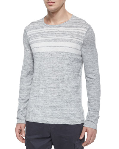 Jasper Striped Crewneck Sweater, Gray/White
