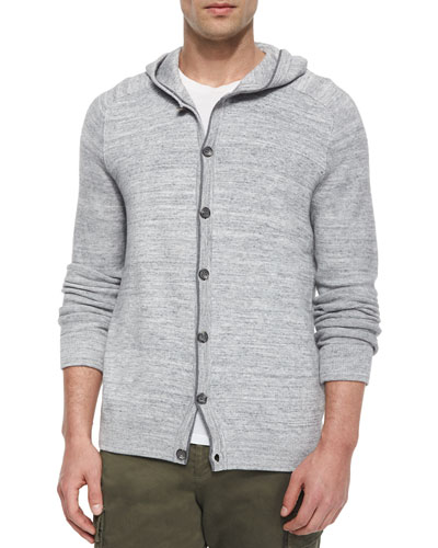 Hooded Button-Down Cardigan, Gray