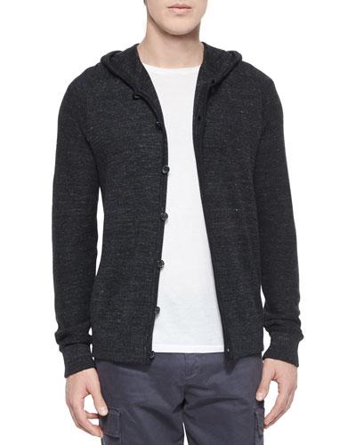 Long-Sleeve Hooded Cardigan, Black