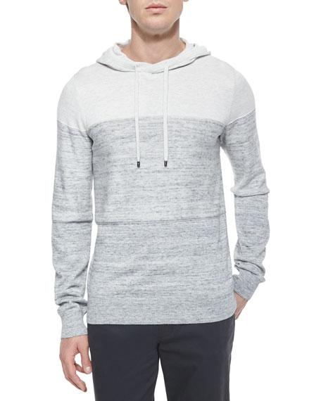 Vince Mini-Stripe Long-Sleeve Hoodie, White/Gray