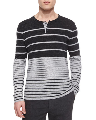Striped Long-Sleeve Henley Shirt, Black/Gray