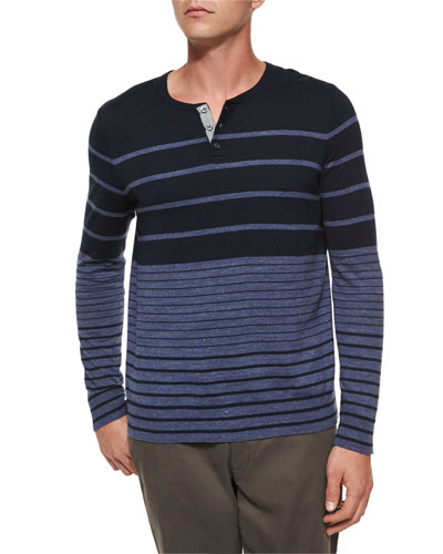 Striped Colorblock Knit Henley Tee, Navy