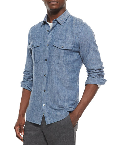 Vince Brushed Twill Long-Sleeve Denim Shirt, Indigo