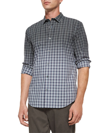 Vince Multi-Plaid Woven Degrade Shirt, Blue Multi