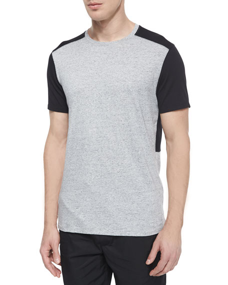 Vince Colorblock Short-Sleeve Jersey Tee, Gray/Black