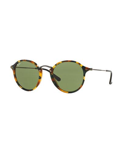 Round Acetate Sunglasses, Green Tortoise