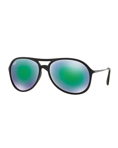 Ray-Ban Plastic Aviator Sunglasses with Mirror Lenses, Green