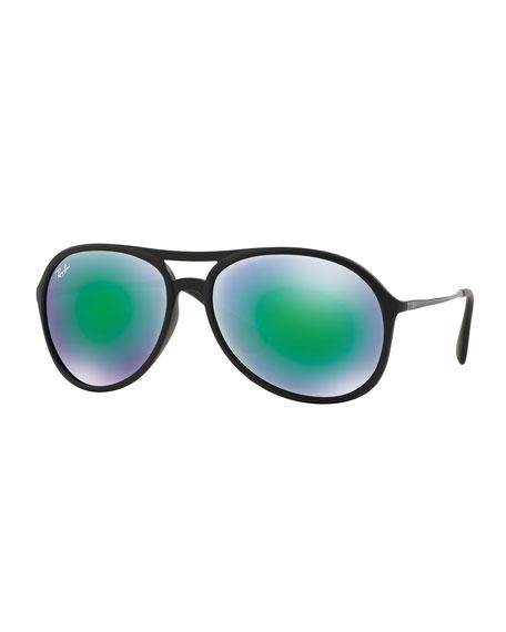 Ray-Ban Plastic Aviator Sunglasses with Mirror Lenses, Green