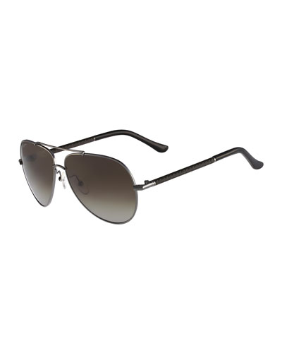 Gancino Aviator Sunglasses, Dark Gunmetal