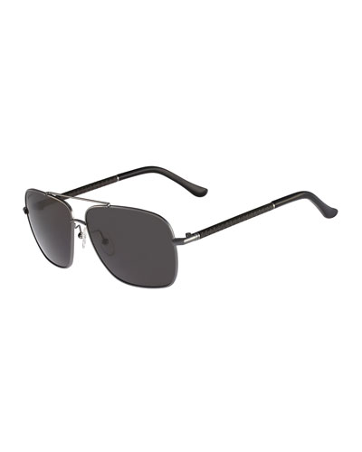 Navigator Metal Sunglasses, Dark Gunmetal