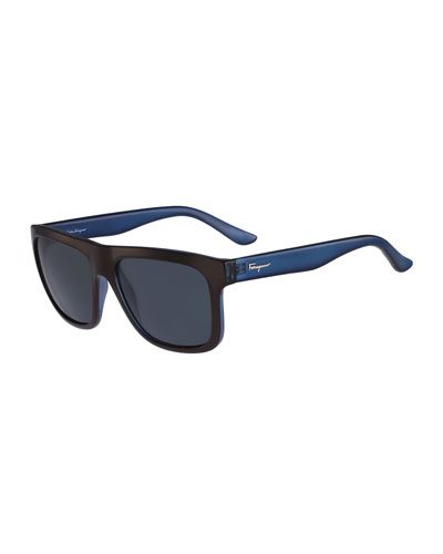 Color Block Flat-Top Plastic Sunglasses, Brown/Blue