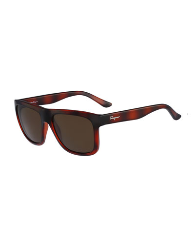 Color Block Flat-Top Plastic Sunglasses, Burgundy