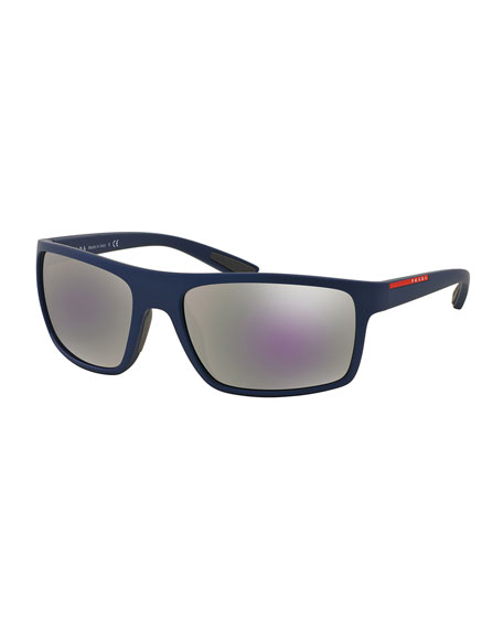 Prada Rectangular Plastic Sunglasses, Blue
