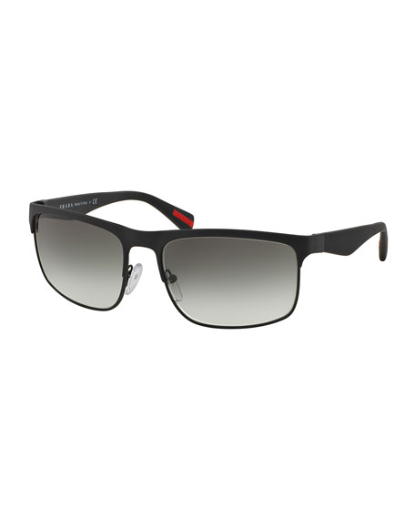 Prada Wire-Frame Rectangular Sunglasses, Matte Black