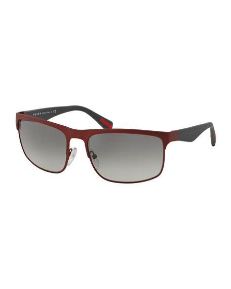 prada red bag price - Prada Wire-Frame Rectangular Sunglasses, Matte Red