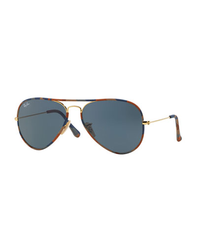 Original Aviator Sunglasses with Camouflage, Brown/Blue