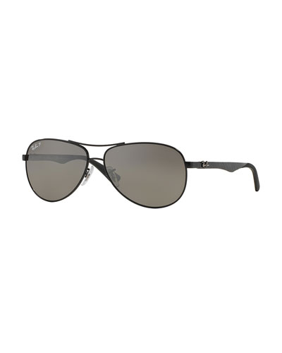 Steel Aviator Sunglasses, Shiny Black