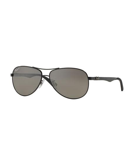 Ray-Ban Steel Aviator Sunglasses, Shiny Black