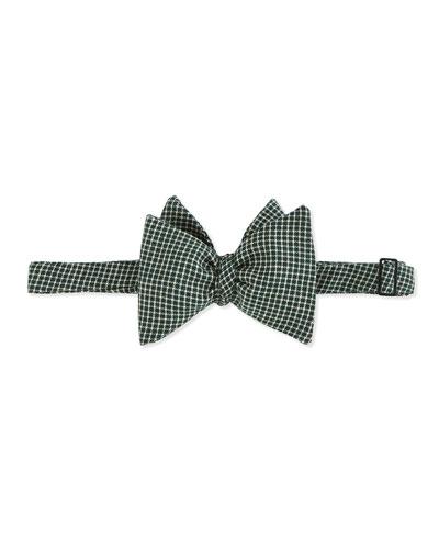 Stitch-Plaid Bow Tie, Green