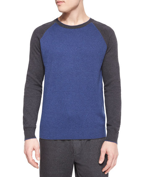 Vince Flecked Raglan-Sleeve Baseball Shirt, Blue