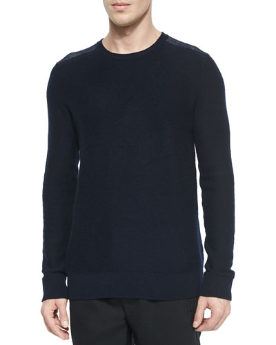 Cashmere Plaited-Shoulder Crewneck Sweater, Navy