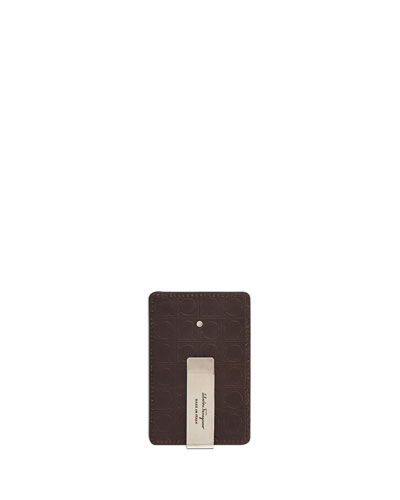 Logo-Embossed Leather Card Case with Money Clip, Brown