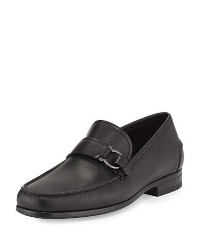 Salvatore Ferragamo Mango Calfskin Boat Shoe Black