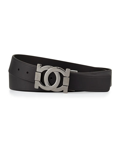 Push-Stud Leather Belt, Black
