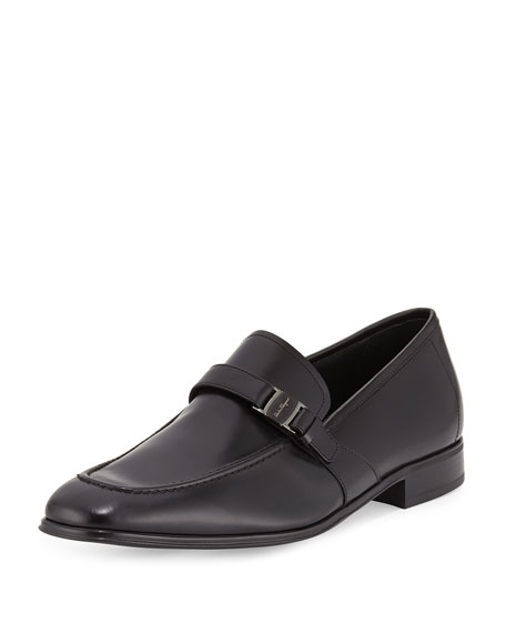 Salvatore Ferragamo Pinot Calfskin Side Vara Loafer, Black