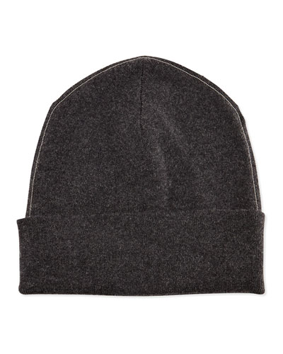 Cashmere Ribbed Hat w/Monili Trim, Volcano