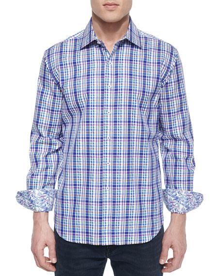 Robert Graham Bowfin Multi-Gingham Sport Shirt, Navy