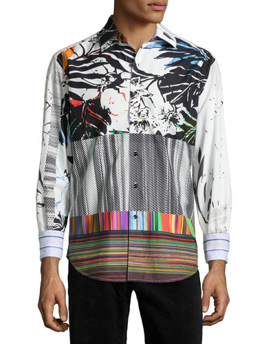 Passion Flower Multi-Print Sport Shirt, Multi