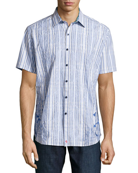 Robert Graham Koloa Embroidered Short-Sleeve Shirt, Blue