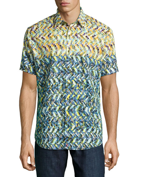Robert Graham Kalawo Multi-Print Short-Sleeve Sport Shirt, Multi