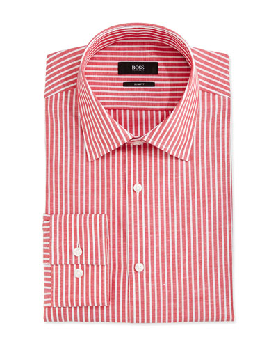 Candy Striped Slim-Fit Dress Shirt, Red/White
