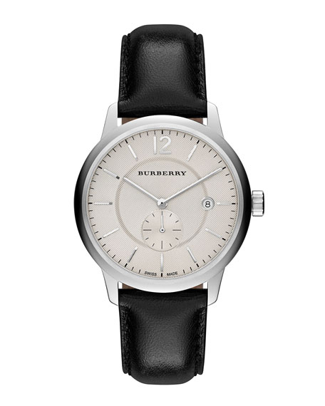 Burberry 40mm Classic Round Watch with Leather Strap