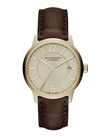 Burberry Automatic Round Watch with Alligator Strap